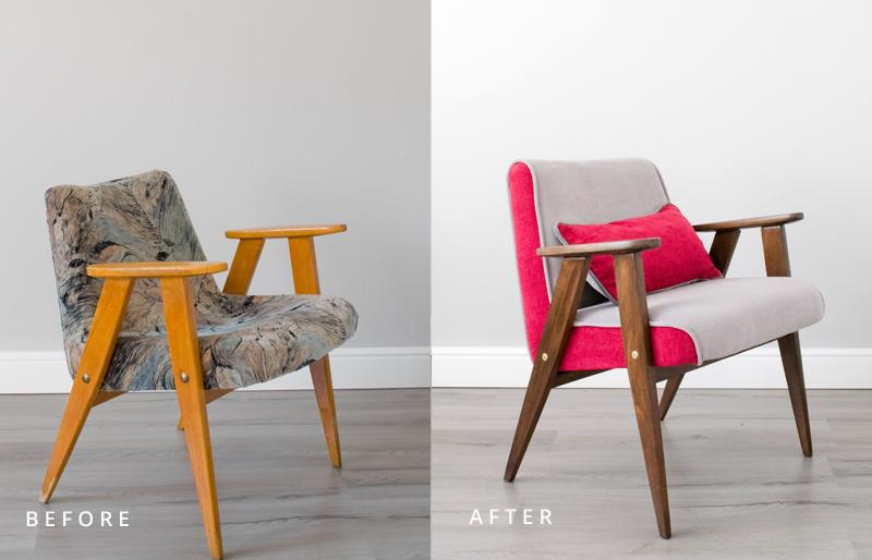 Krzesło w stylu PRL przed i po metamorfozie