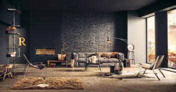 Loftowy salon z czarną cegłą na ścianie i jasną drewnianą podłogą