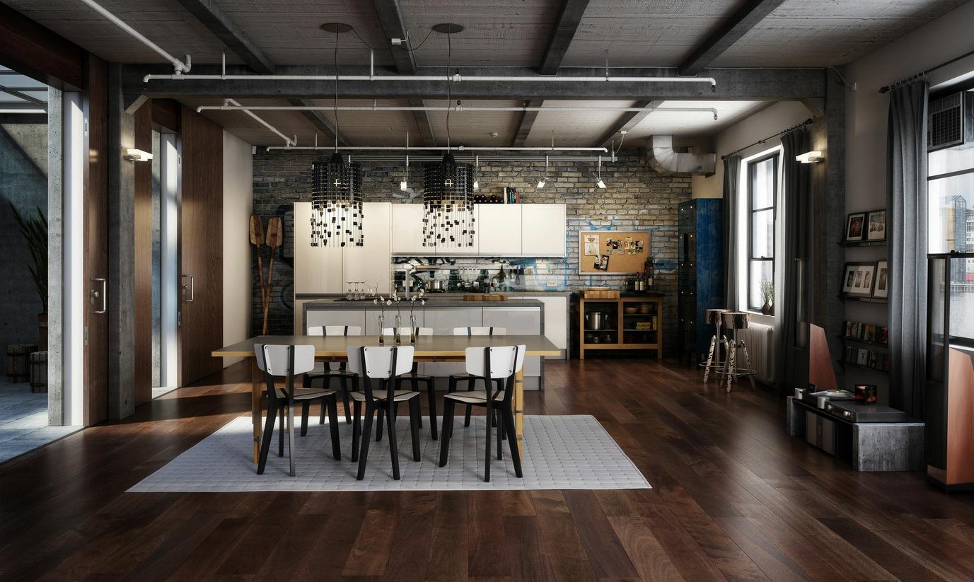 Duża loftowa jadalnia w minimalistycznym stylu